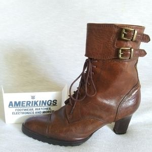 Ralph Lauren; leather laced boots